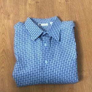 Bachrach Size XXL Blue Short Sleeve Button Down